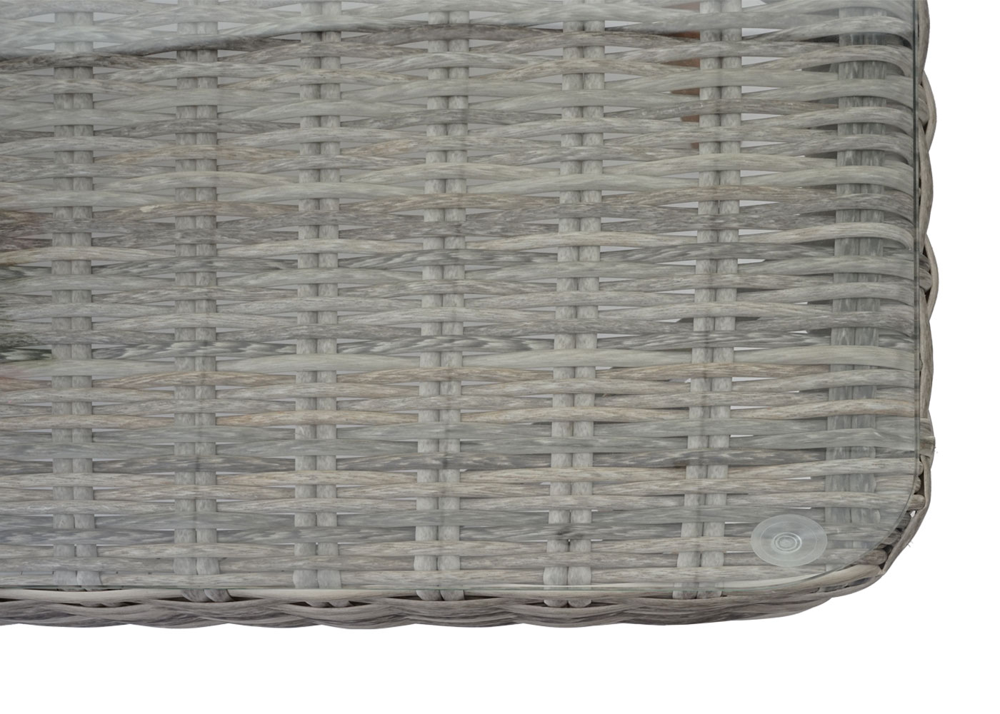 Gartengarnitur HWC-H64 Detailansicht Glasplatte mit Saugnäpfe