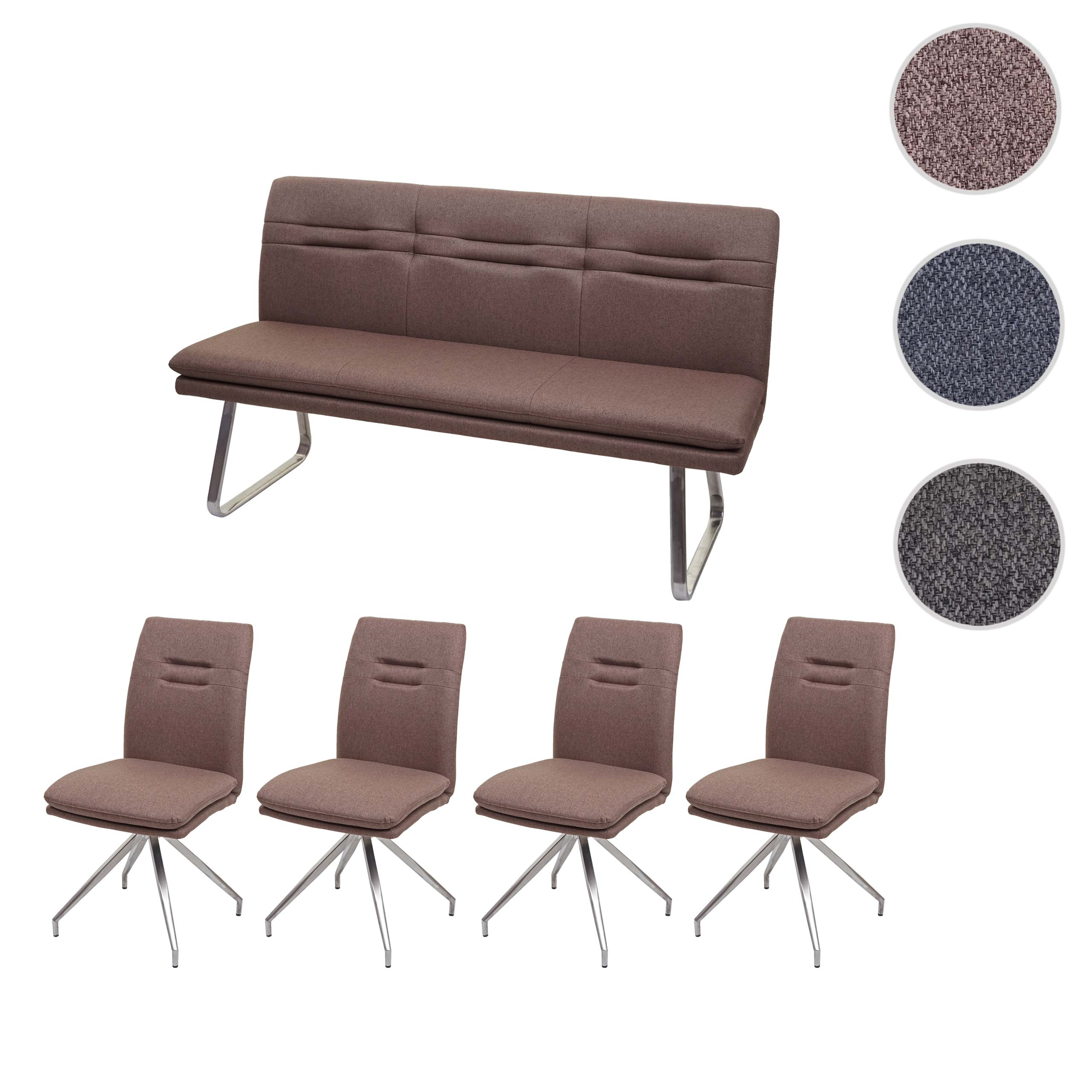 Mendler Esszimmer-Set HWC-H70, Sitzgruppe Esszimmergruppe Esszimmergarnitur, Stoff/Textil Edelstahl gebürste 73911+2x73922