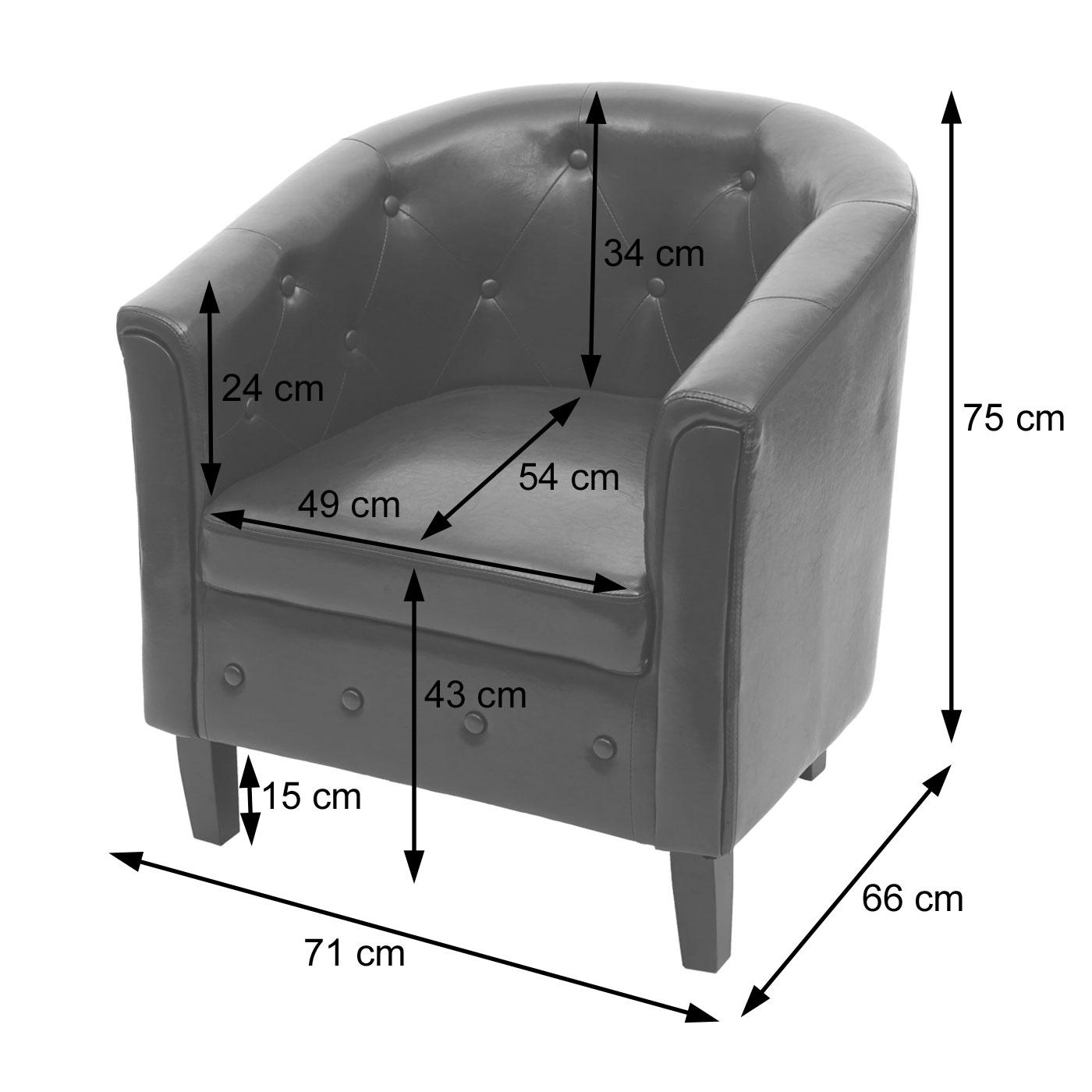 Sessel Newport T810 Bemaßungsbild