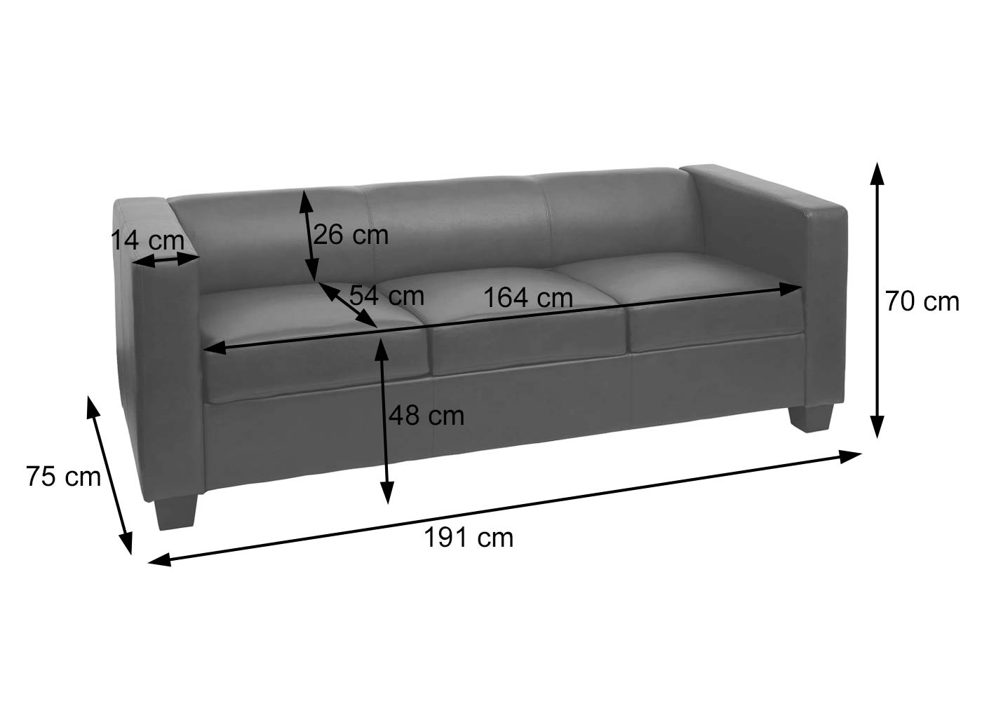 3er Sofa Couch Loungesofa Lille Bemaßungsbild