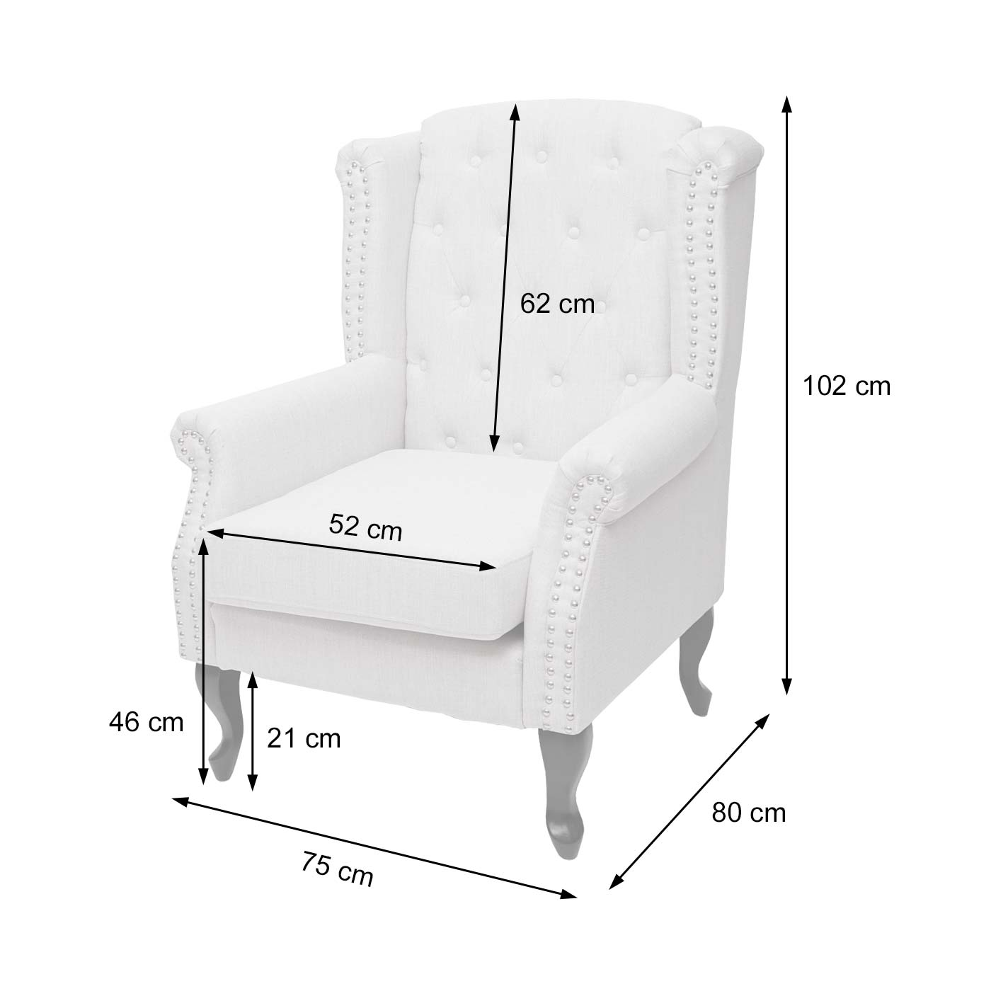 Chesterfield Sessel Bemaßungsbild