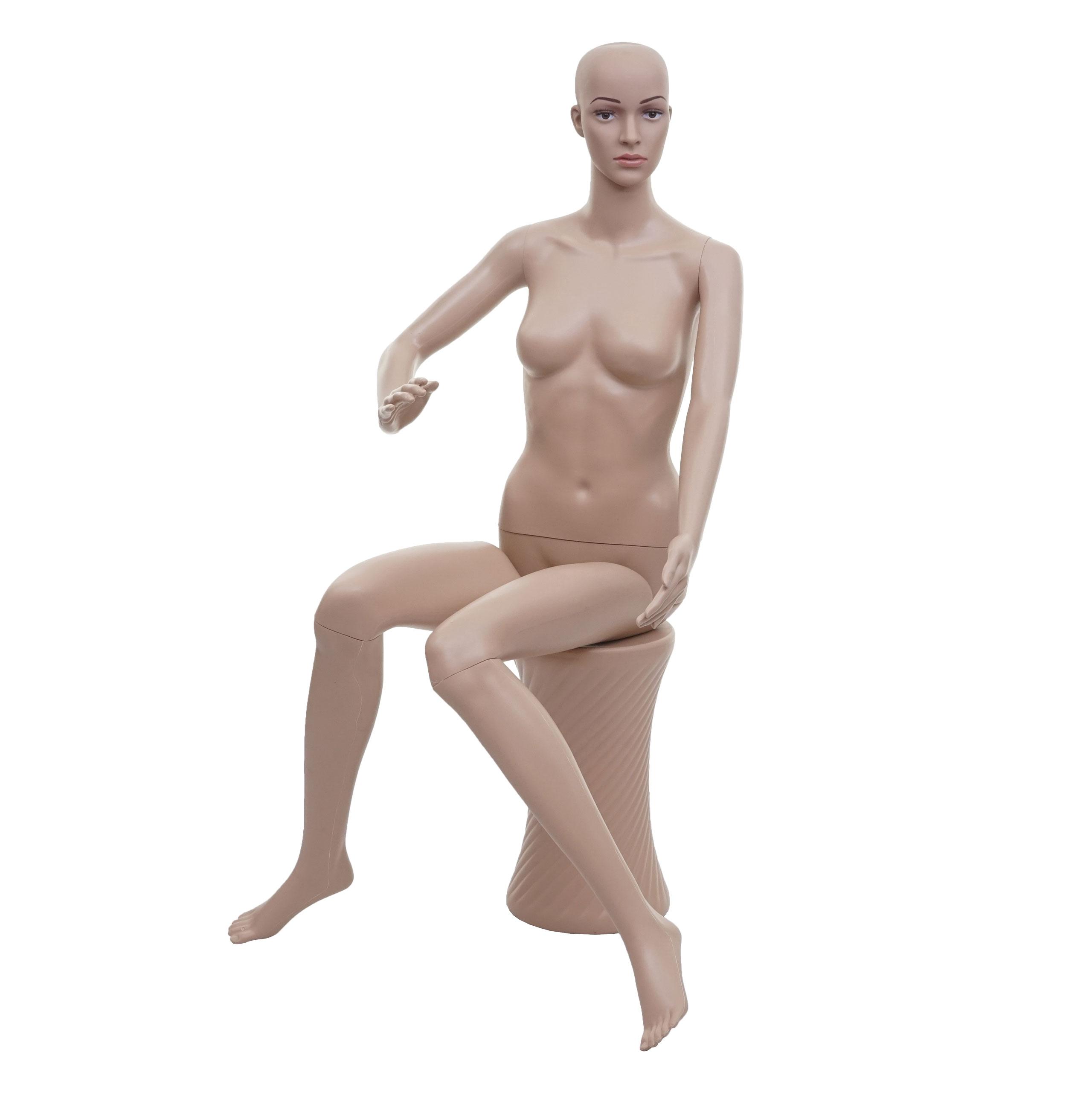 Mendler Schaufensterpuppe HWC-E37, weiblich Frau Schaufensterfigur Puppe Mannequin Schneiderpuppe, sitzend l 75708