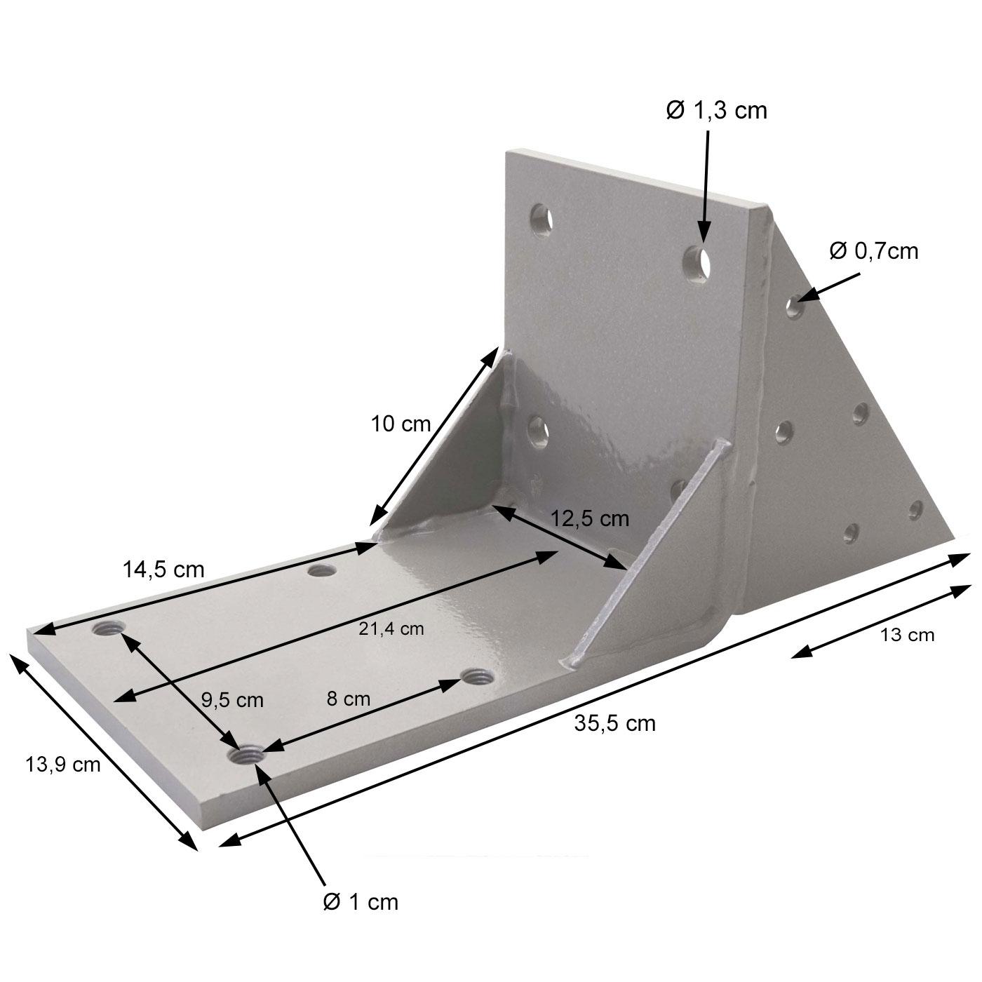 Dachsparrenadapter für T124 Bemaßungsbild