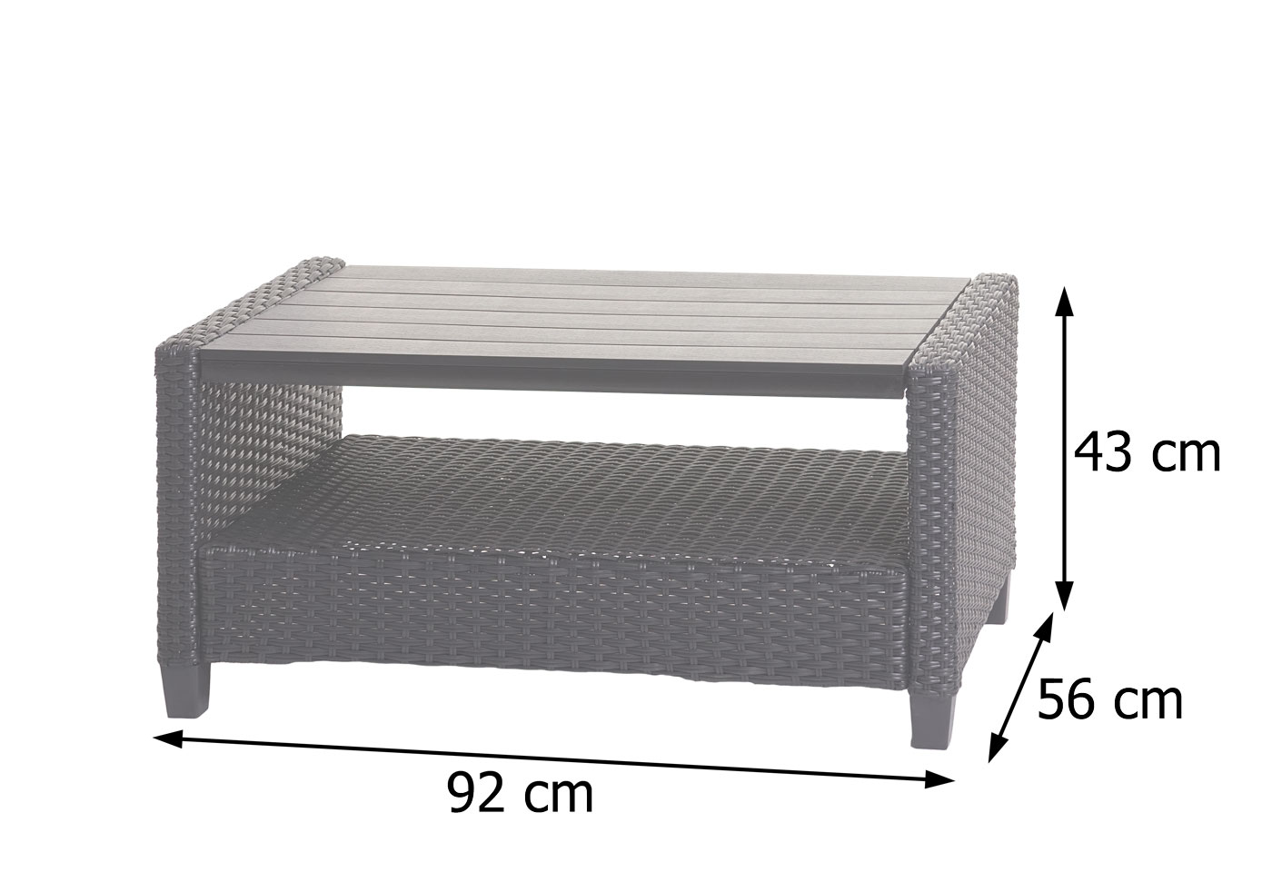 HWC-J35 Poly-Rattan Garnitur Bemaßungsbild Tisch