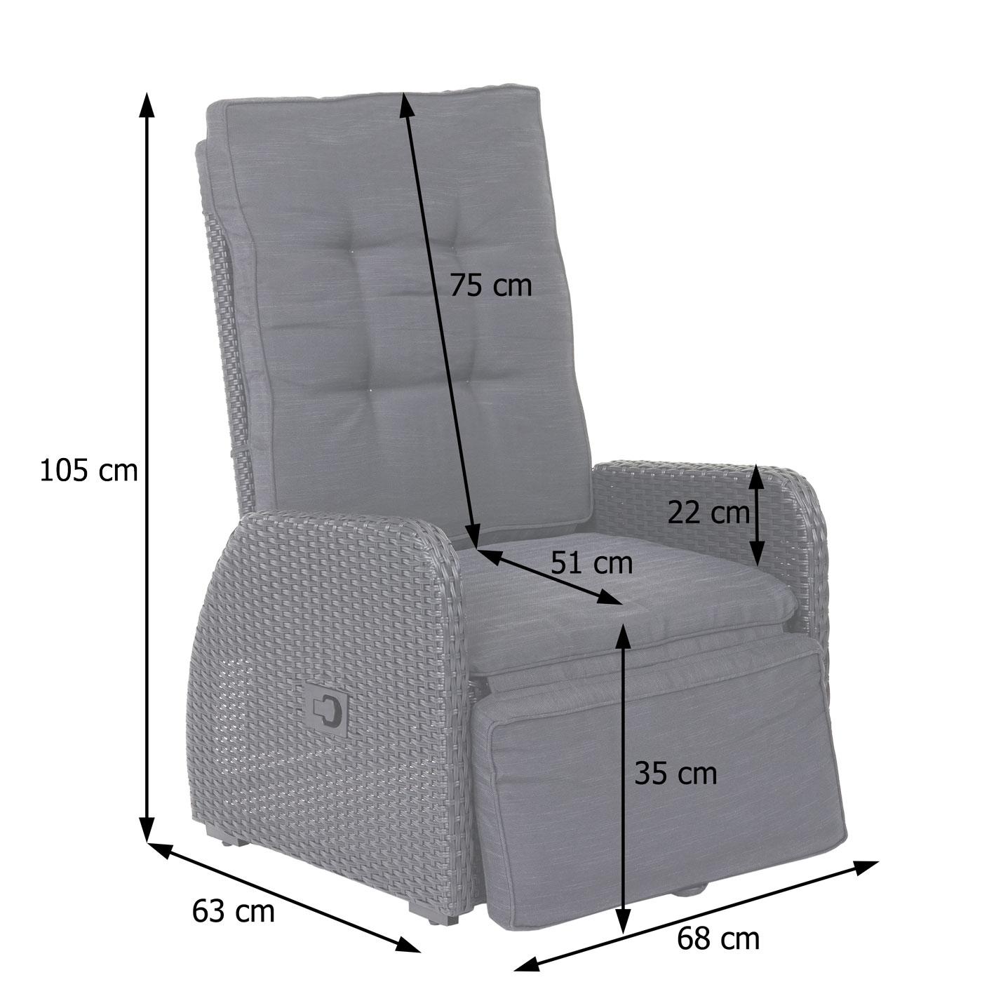 HWC-J35 Poly-Rattan Garnitur Bemaßungsbild Sessel