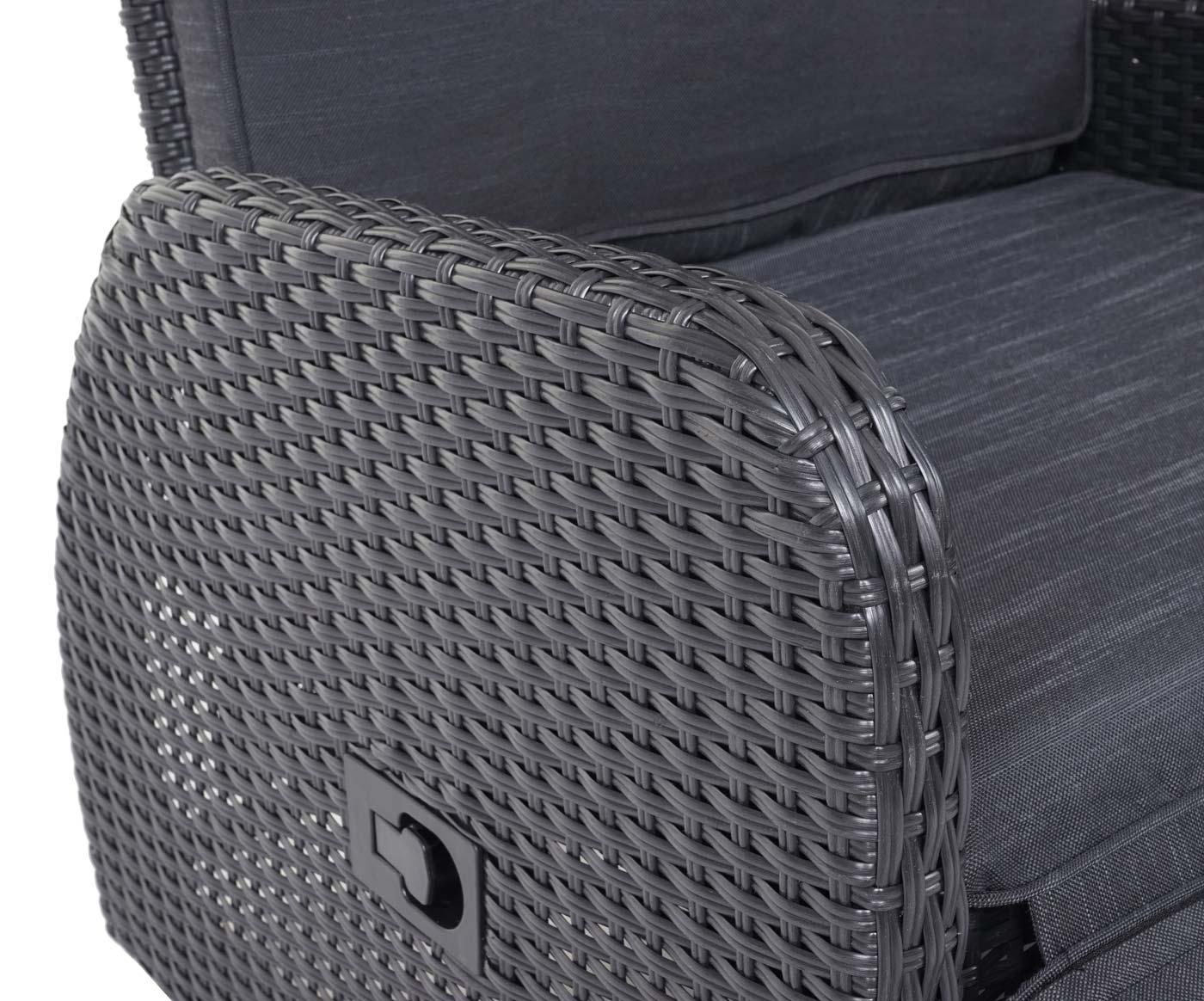 HWC-J35 Poly-Rattan Garnitur Detail Armlehne und Verstellhebel