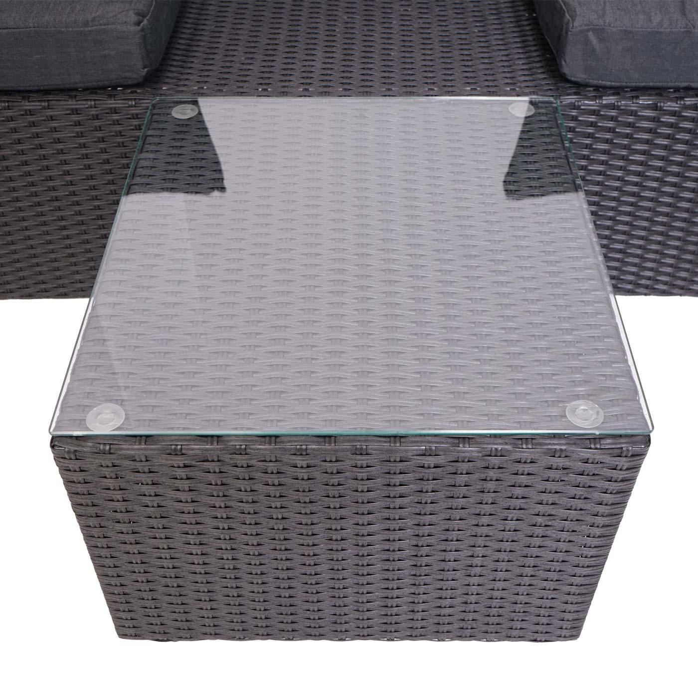 Poly-Rattan Garnitur HWC-J37 Detailansicht Tischplatte